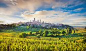Medieval Town Of San Gimignano At Sunset, Tuscany, Italy poster