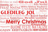 A merry christmas tag cloud with many different languages saying merry christmas