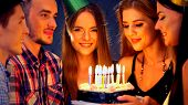 Happy friends birthday celebrating food with candle celebration cakes in club. People wear in hat pa poster
