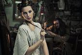 Beauty woman in old  atelier