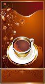 Xícara de café com fundo abstrato