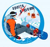 Logo snowboarding - extreme sports. Winter vector Illustration.