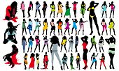 Big set of colored active fashion girls vector silhouettes. 47 Long Legs young Girls.