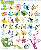 COLLECTION_9 Exclusive Series of Musical instruments vector Icons and music symbols with modern ideas. Color Design Set for Web. Abstract creative element templates.