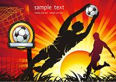 Soccer Action player. Team on beautiful Abstract Background. Original Vector illustration sports ser