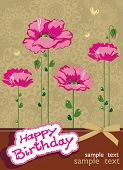 Floral background with place for your text. Abstract summer card. Retro arrival with flowers poppies. Vector illustration