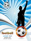 Soccer ball with silhouettes of sport fan. Vector Football background with space for your text. Abst