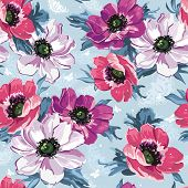 Elegance Seamless color flowers pattern on blue background, vector illustration
