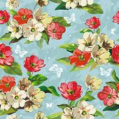 Elegance Seamless beige and red flowers pattern on blue background, vector illustration with butterf