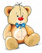 Sitting Teddy Bear toy with blue bow isolated over white background. Clipart vector illustration.