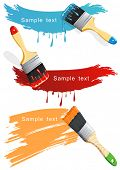 Isolated flat brush leaving a horizontal trail of blue, red and orange paint over a white wall. Paint Brush. Stylish bright Vector Illustration.