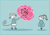 boy with big rose