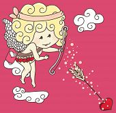 little cupid in action on pink background