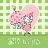 stock photo of happy birthday card  - happy birthday greeting card with girl with cupcake - JPG