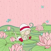stock photo of water lilies  - girl lying on a water lily leaf - JPG