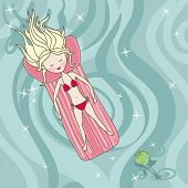 girl lying on an air mattress in a sea