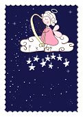 greeting card with cute angel playing harp