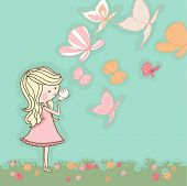 picture of tooth-fairy  - girl blowing butterflies - JPG