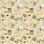 seamless doodle coffee pattern