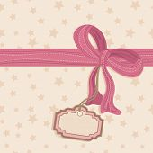 seamless star background with pink bow and blank tag