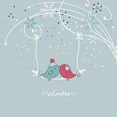 winter card with bird on a sviwng