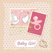 baby girl card with stamps