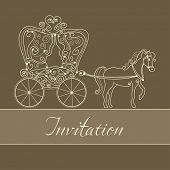 image of chariot  - invitation card with carriage - JPG