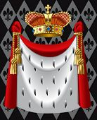 stock photo of ermine  - Vector image of the gold crown and a mantle - JPG