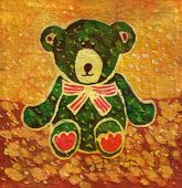 Image of my artwork with a Green Teddy bear