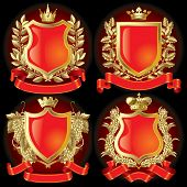 Raster version of vector set of gold heraldic symbols (contain the Clipping Path)