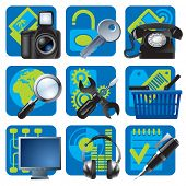 Vector set of blue website and internet icons 1