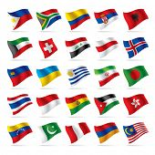 Isolated raster version of vector set of world flags 3 (contain the Clipping Path of all objects)