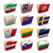 Set 4 of vector folders icons with world flags