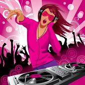 stock photo of party people  - Vector image of beautiful DJ girl and people dancing at a party - JPG