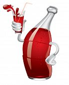 Isolated raster version of vector cartoon soda bottle with a glass in a hand (contain the Clipping P