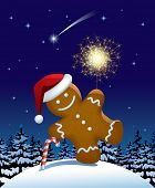 Isolated raster version of vector illustration of gingerbread man with a sparkler in winter fir forest in the night