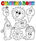 Coloring book with summer pictures - vector illustration.