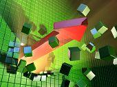 A big red arrow is breaking a cube wall. Digital illustration.