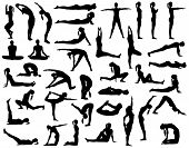 picture of yoga silhouette  - Collection of vector silhouettes of a woman doing yoga - JPG