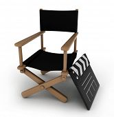 3D Illustration of a Director's Chair with a Clapperboard Beside it