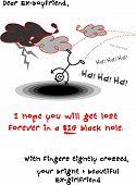 Espero que mi Ex novio cae en un agujero - tarjeta sarcástico / ilustración de dibujos animados / Vector Eps