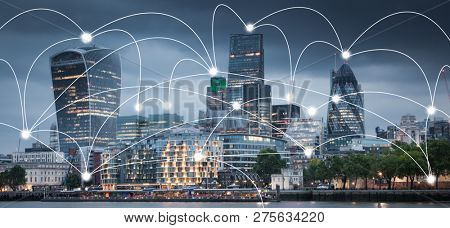 smart city and connection lines
