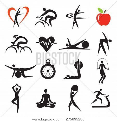 poster of Health Fitness Sport Icons Sets. Set Of Fitness And Healthy Lifestyle Stylized Icons.isolated On Whi