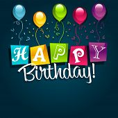 Happy Birthday Greeting Card with Party Balloons