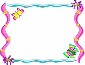Frame with Butterflies and Whimsical Flowers