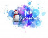 Watercolor Blue Blot With Smiling Snowman. Winter Season Illustration. Feliz Navidad - Holiday Calli poster
