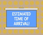 Word Writing Text Estimated Time Of Arrival. Business Concept For Hours At Which A Flight Is Suppose poster