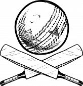 Cricket sports equipment sketch