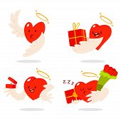 Cute Hearts Characters With Angel Wings And Halos In Different Actions: With Gift Box, Flower Bouque poster