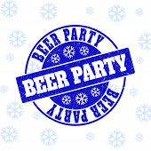 Beer Party Round Stamp Seal On Winter Background With Snow. Blue Vector Rubber Imprint With Beer Par poster